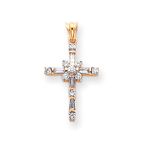1/2 Carat Baguette Diamond Cross Necklace, 14K Gold