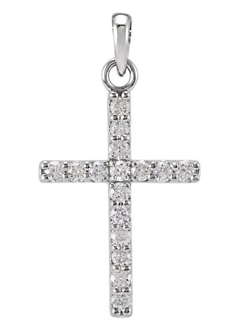 1/4 Carat Diamond Cross Pendant, 14K White Gold