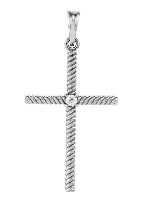 Rope Design Diamond Cross Pendant, 14K White Gold