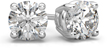 0.50 Carat Round Diamond Stud Earrings in 18K White Gold