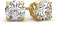 0.66 Carat Round Diamond Stud Earrings in 14K Yellow Gold