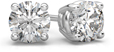 0.66 Carat Round Diamond Stud Earrings in 18K White Gold