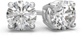 0.75 Carat Round Diamond Stud Earrings in 14K White Gold