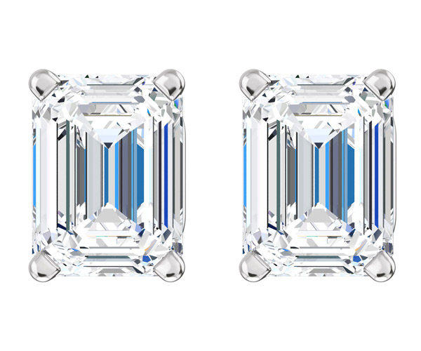 1/2 Carat Emerald-Cut Diamond Stud Earrings in White Gold
