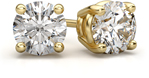1.50 Carat Round Diamond Stud Earrings in 18K Yellow Gold