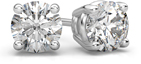 1.50 Carat Round Diamond Stud Earrings in 14K White Gold