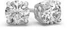 1.00 Carat Round Diamond Stud Earrings in 18K White Gold