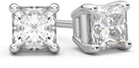 2 Carat Princess Cut Diamond Stud Earrings in 14K White Gold