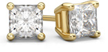 2.00 Carat Princess Cut Diamond Stud Earrings in 18K Yellow Gold