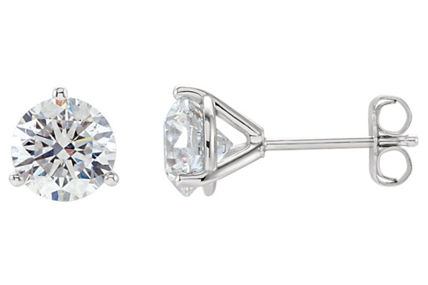 3/4 Carat Trinity-Prong Diamond Stud Earrings