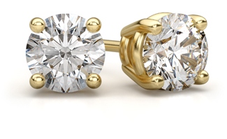 diamond stud earrings yellow gold