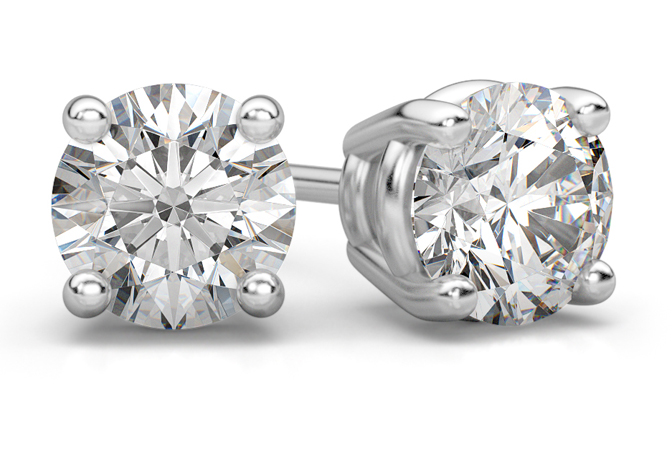 1.50 Carat Round Diamond Stud Earrings in 18K White Gold
