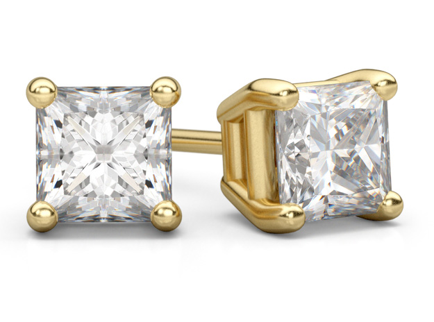 1 Carat Princess Cut Diamond Stud Earrings in 14K Yellow Gold