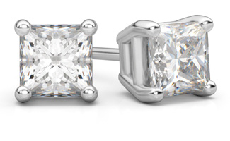 princess-cut diamond stud earrings white gold