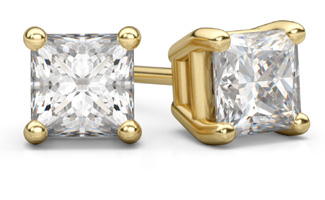 princess-cut diamond stud earrings gold