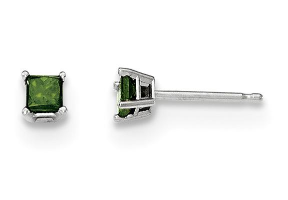1/3 Carat Princess-Cut Green Diamond Stud Earrings