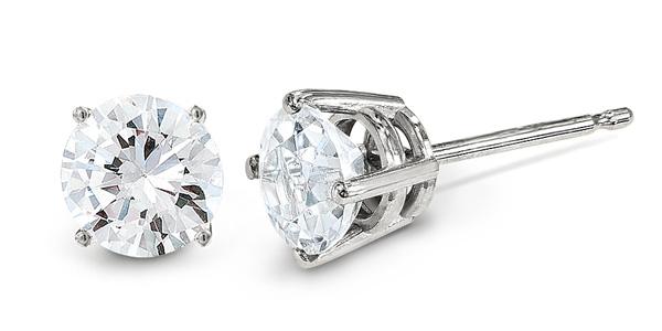 f949655fd Small 0.05 Carat Diamond Stud Earrings, 14K White Gold