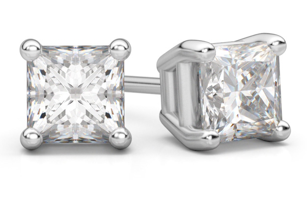 platinum 1 carat princess-cut diamond stud earrings