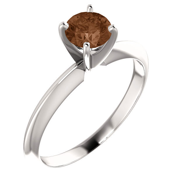1/2 Carat Cognac Diamond Solitaire Engagement Ring, 14K White Gold