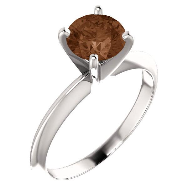 1 Carat Cognac Diamond Solitaire Ring, 14K White Gold