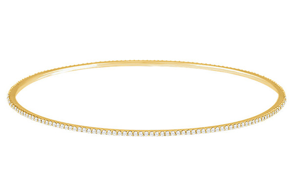 Stackable 1 Carat Diamond Bangle Bracelet in 14K Yellow Gold