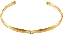 14K Yellow Gold Diamond Cuff Bangle Bracelet