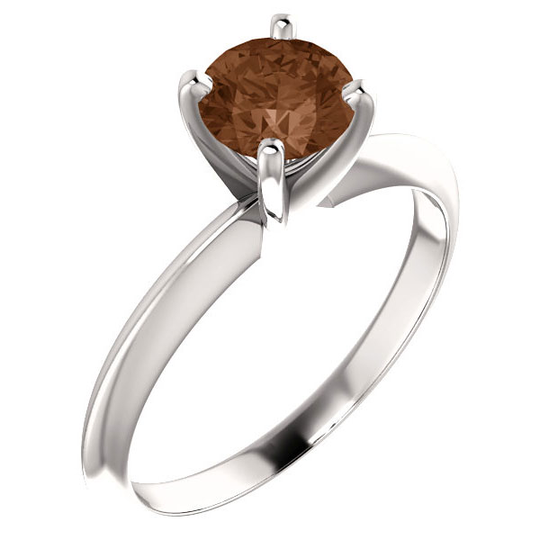 3/4 Carat Cognac Diamond Solitaire Engagement Ring