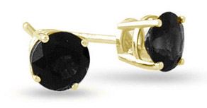 1.00 Carat Round Black Diamond Stud Earrings in 18K Yellow Gold
