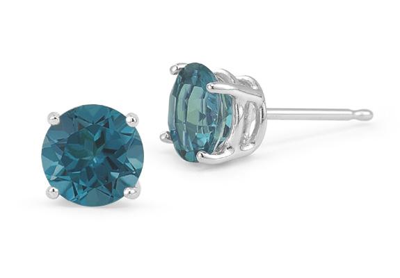 0.60 Carat Round Blue Diamond Stud Earrings in Platinum