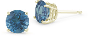 1.00 Carat Round Blue Diamond Stud Earrings in 18K Yellow Gold