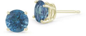 0.33 Carat Round Blue Diamond Stud Earrings in 14K Yellow Gold