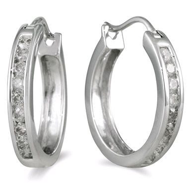 1/2 Carat Channel Set Diamond Hoop Earrings