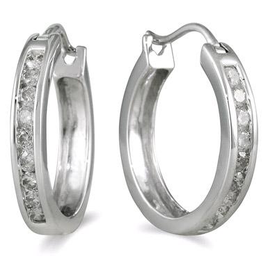 1/2 Carat Channel Set Diamond Hoop Earrings