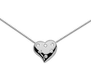 Petite Diamond Heart Pendant, 14K White Gold