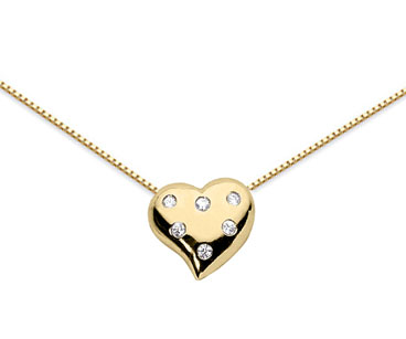 Petite Diamond Heart Necklace, 14K Yellow Gold
