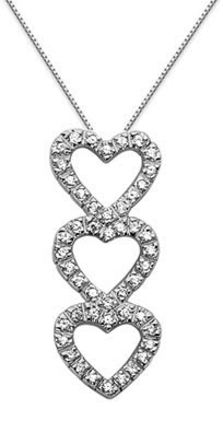 Triple Heart Diamond Pendant, 14K White Gold