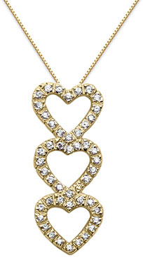 Triple Heart Diamond Necklace, 14K Yellow Gold