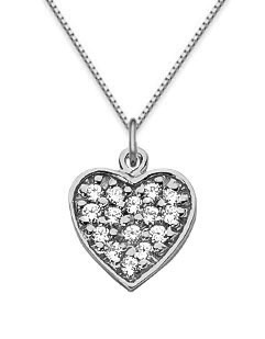 Pave Diamond Heart Necklace, 14K White Gold