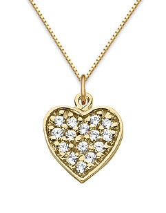 Pave Diamond Heart Pendant, 14K Yellow Gold