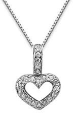 Diamond Heart Drop Necklace, 14K White Gold
