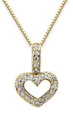 Diamond Heart Drop Pendant, 14K Yellow Gold