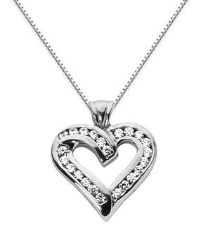 Diamond Heart Pendant, 14K White Gold