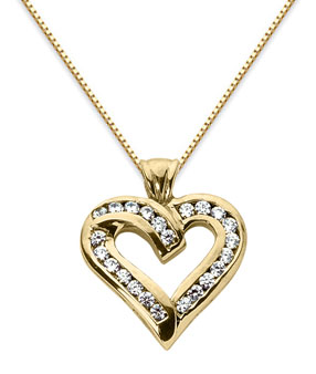 Diamond Heart Pendant, 14K Yellow Gold