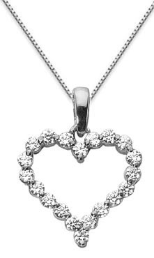 1 carat diamond heart necklace 14k white gold mozeypictures Choice Image