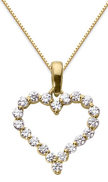 1 Carat Diamond Heart Pendant, 14K Yellow Gold