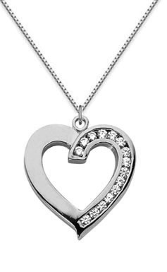 Half Carat Diamond Heart Necklace, 14K White Gold