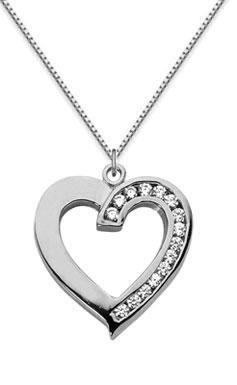 Half carat diamond heart necklace 14k white gold aloadofball Choice Image