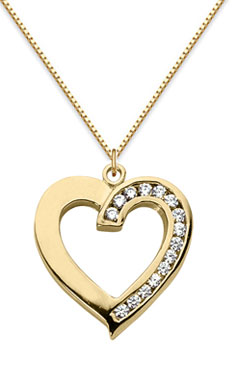 Half Carat Diamond Heart Pendant, 14K Yellow Gold