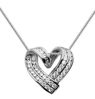 1 Carat Diamond Heart Wrap Necklace, 14K White Gold