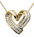 1 Carat Diamond Heart Wrap Pendant, 14K Yellow Gold